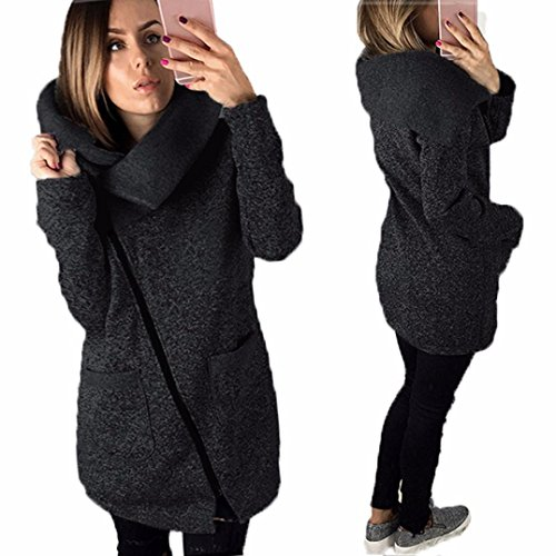 URSING Frauen übergang Jacke Mantel Lang Zipper Sweatshirt Outwear Tops Klassisch Feste Farbe Mit Kapuze College Jacke Hoodie Lange Reißverschluss Kapuzenjacke Jacken Mäntel (XL, Dunkelgrau)