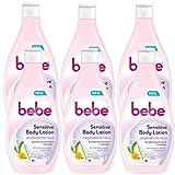 bebe Sensitive Body Lotion - Intensive Feuchtigkeitspflege mit Aloe Vera Extrakt und Calendula für empfindliche Haut - pH-hautneutral - 6 x 400ml