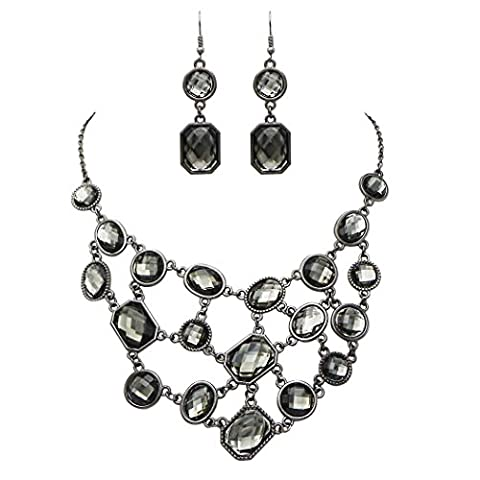 Rosemarie Collections Women's Vintage Style Bib Necklace Drop Earrings