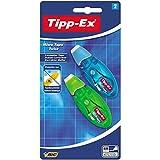 Tipp-Ex Korrekturroller Micro Tape Twist mit drehbarer Schutzkappe – Blau/Grün oder Rot/Lila – 1 Blister à 2 Korrekturmäuse – 8 m x 5 mm