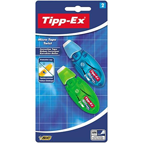 Tipp-Ex Korrekturroller Micro Tape Twist mit drehbarer Schutzkappe/Blau/Grün oder Rot/Lila/1 Blister à 2 Korrekturmäuse/8 m x 5 mm