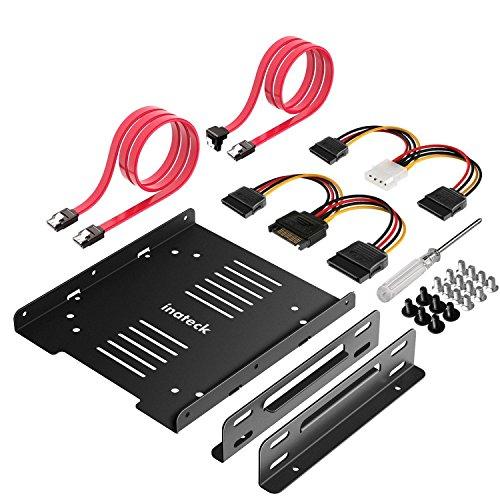 """'inat d'angle Kit de Cadre de Montage pour 2x 2,5""""HDD/SSD vers 3,5Disque Dur Interne, Support, Cadre, avec 2x SATA Câble de Données et 2x Câble d'alimentation (ST1004)"""
