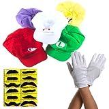 Katara - Costume Super Mario - casquettes Mario/ Luigi/ Mario de feu/ Wario et Waluigi 5 paires de gants blancs de taille unique et 12 fausses moustaches - set cosplay jeux vidéo/ enfants ou adultes