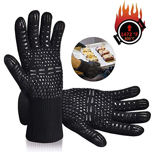 Karrong Grillhandschuhe Hitzebeständig, BBQ Handschuhe Ofenhandschuhe Hitzebeständig bis zu 500℃ / 932℉ mit EN407 Zertifizierte für BBQ, Grill, Kochen, Backen, Schweißen, Schwarz(1 Paar)