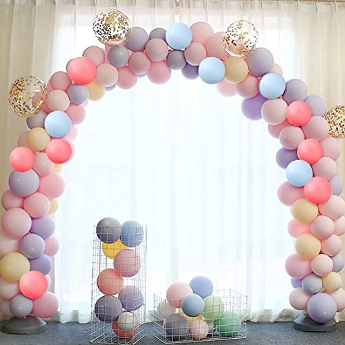 80 globos pastel, globos de látex de color macaron, globos de colores surtidos con globos de confeti dorados, guirnalda de globos para cumpleaños de niña, boda, baby shower