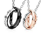 Crownly Collar con colgantes de anillos I Will Always Be With You Amazing His & Hers Couples 19' y 21'