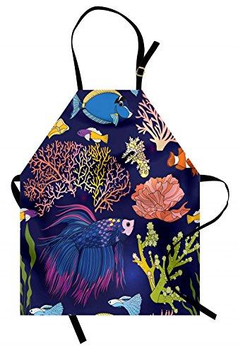 Lunarable Delantal de Pescado, diseño de Flor y Fauna de Colores para...