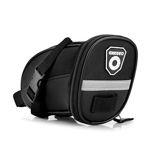 Enkeeo - Bolsa de sillín alforja para bicicleta (Cinta reflectante material, sellado de cremallera) Negro