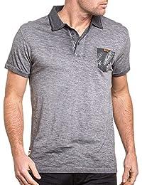 Deeluxe 74 - Polo homme gris teinté délavé avec poche
