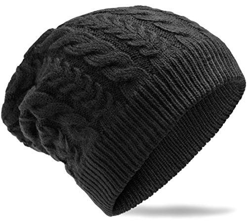 Grin&Bear weiches unisex Beanie Mütze in Grobstrick -8- Design schwarz M5