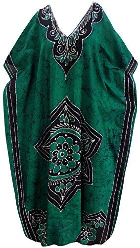 La Leela lose Abdeckung bis maxi langen Strandabnutzungs Puffärmeln Kleid Kaftan aus Baumwolle mit V-Ausschnitt Kleid Grün 3