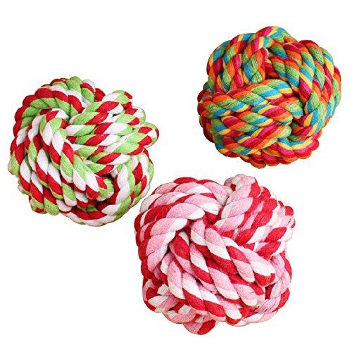 zcsmg 9cm Funny Pet Hund Geflochten Baumwolle Seil Knoten Ball Kauen Spielzeug Zähne Reinigung Ball (zufällige Farbe) -