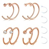 Best body jewelry Fake Diamonds - Zolure 18 Gauge Stainless Steel Nose Ring Earring Review