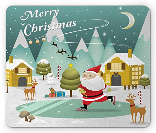 WYICPLO Merry Christmas Mouse Pad, Snowy Sweet Xmas Scene Doodle Ice Skating Santa Reindeer Gift Boxes Print, Standard Size Rectangle Non-Slip Rubber Mousepad, Multicolor -