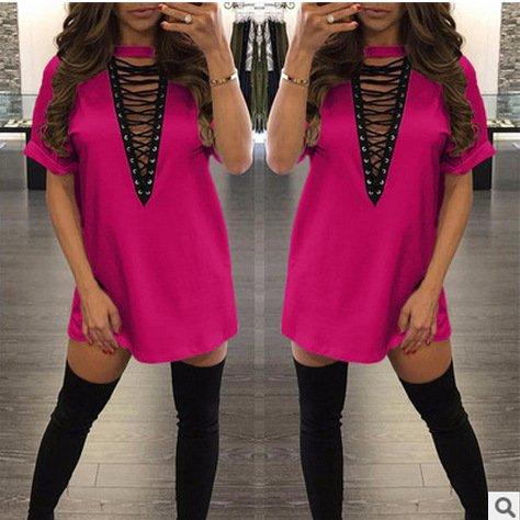 Junshan Femmes Tee Shirt Tops Col V Casual Slim Mode Elégante Simple T-Shirt Chemise Tops Manches Courtes Robe Couleur Pure T-Shirt Jupe Rouge