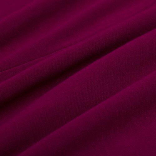HOMEYEE - Robe - Moulante - Floral Print Encolure Strappy À Fleurs - Sans Manche - Femme B309 Carmin