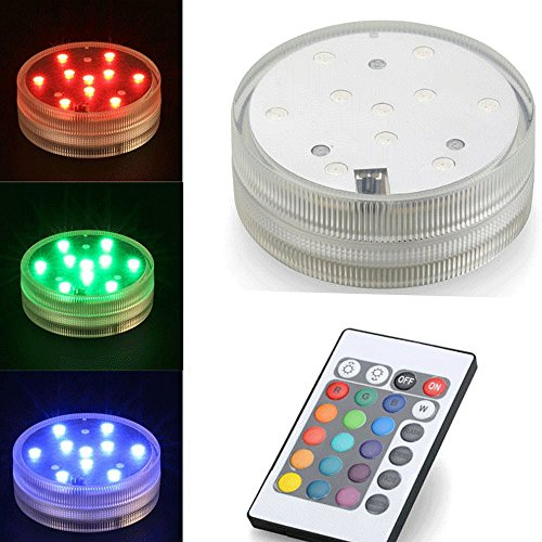 Set di 3 – Lampade LED impermeabili  – 10 LED – telecomando – Impermeabile 1 metro – IP