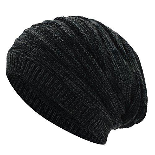 WinCret Warme Feinstrick Beanie Mütze - Strickmütze mit Zopfmuster und weichem Fleece Futter - Lange Slouch Beanie Mütze für Herren Damen