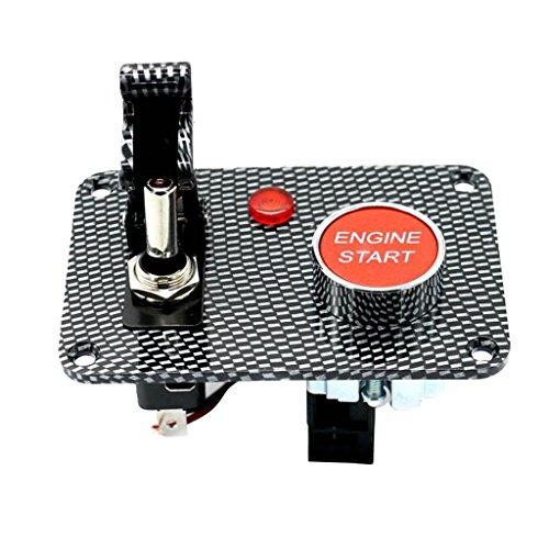 Sharplace Toggle Switch Panel on Off Bouton De Démarrage De Voiture - Fibre de Carbone