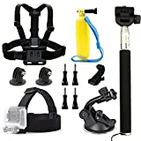 dOvOb Action Camera Accessories Kit (include Head Strap Mount, Chest Mount Harness, Selfie Stick Monopod, Suction Cup Mount, Floating Hand Grip) for GoPro Hero/DBPOWER/APEMAN/Campark/AKASO