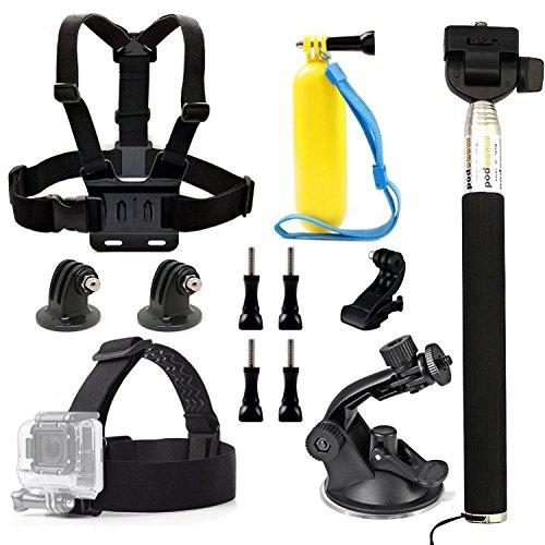 dOvOb Kamerazubehör für Actionsport, inklusive Kamerakopfgurt, Brustgeschirr, Schwimmhaltestab, Selfie-Stick/ Handstativ, Saugnapf-Halterung, für GoPro/ DBPower/ Apeman/ Campark/ Akaso/ Lightdow/ WiMiUS, 7-teiliges Set