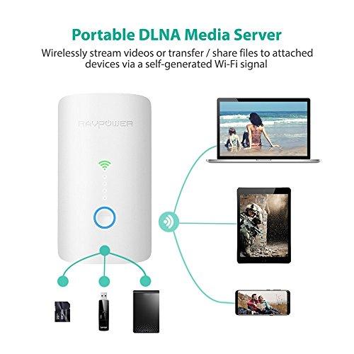 RAVPower Filehub Router Portátil WiFi,  Amplificador/Repetidor WiFi,  Lector Tarejeta SD,  Disco Duro Inalámbrico,  Batería Externa,  Hotspot,  Acceso a Discos Duros y Memoria USB,  Compartido Archivos