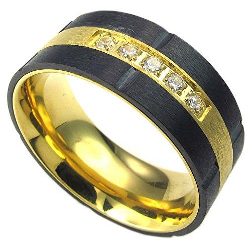 KONOV Schmuck Herren-Ring, Zirkonia Diamant Edelstahl, Klassiker Eheringe Verlobungsringe, Gold Schwarz - Gr. 65 (Schwarzen Diamanten Ringe Gold)