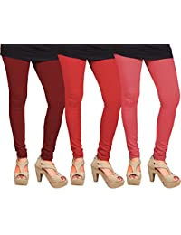 CAY 100% Cotton Combo of Pink, Red and Maroon Color Plain, Stylish & Most Comfortable Leggings For Girls & Women with Full Length (SIZE : Free Size)