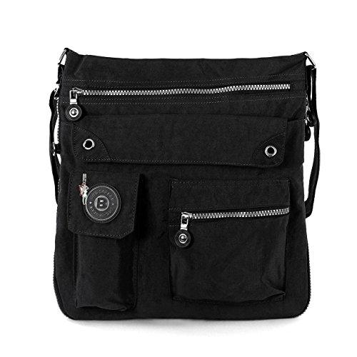 Bag Street 2221 Damen sportliche Handtasche Umhängetasche Schultertasche aus Nylon, Schwarz, ohne -