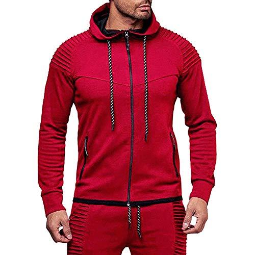 Preisvergleich Produktbild Hmeng Männer Sport Mantel,  Todaies Männer Herbst Winter Sweatshirt + Hosen Sets Sport Anzug Trainingsanzug (rot,  2XL)