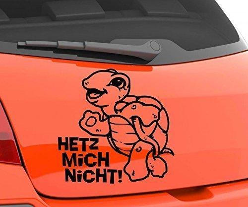(Autoaufkleber Anfänger Schildkröte Sticker Auto Fahranfänger Heckscheibe Aufkleber Hetz mich nicht! KFZ Tattoo 1B341, Farbe:Weiß glanz;Hohe:14cm)