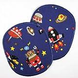 Knieflicken Raketen Aufbügler Flicken Set retro XL Orbit dunkelblau 12 x 10 cm Buegelflicken 2 Applikationen Hosenflicken große Aufnäher für Jungen als Weltraum patches zum aufbügeln