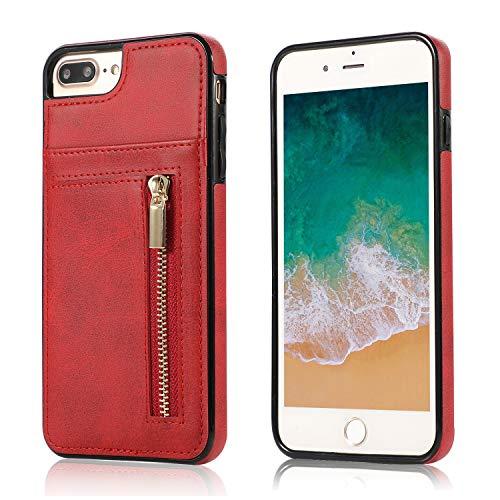 Yobby Hülle für Samsung Galaxy S10+/S10 Plus,Ultra Slim Retro PU Leder Brieftasche Handyhülle mit Kartenfach Rückseite und Reißverschluss,Stoßfest Bumper Schutzhülle für Samsung Galaxy S10+-Rot -