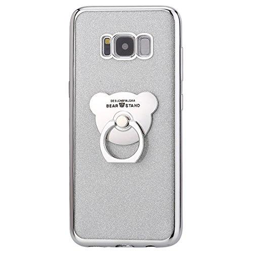 Uposao Kompatibel mit Samsung Galaxy S8 Silikon Hülle Bling Glitzer Strass Diamant TPU Silikon Schutzhülle mit Ringhalter Ständer Durchsichtige Hülle Dünn Transparent Handyhülle, Silber