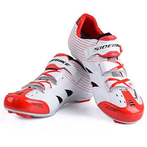 Unisexe respirant chaussures de vélo professionnels pour route et VTT SD-003 Blanc / Rouge pour le Route