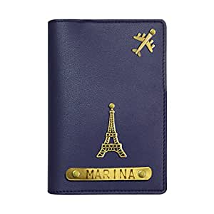 The Bling Stores Men's and Women's Leather Blue Personalised Passport Cover