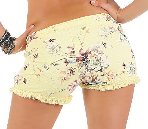 malito Damen Shorts mit Blumen Muster | kurze Hose mit Fransen | Bermuda für den Strand | Pants �?Hotpants 6083 Gelb