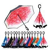#10: Density Collection Inverted Umbrella, Double Canopy Vented Windproof Waterproof Sun Protection Stick Umbrellas, Multi Design ☂☂