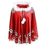 Topgrowth Mantello Rosso Donna Natale Mantella con Cappuccio Famiglia Cappotto di Babbo Natale Stampa Outwear