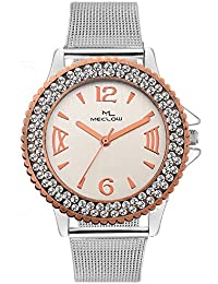 Latest Designer Fashionable Silver Metal Strap Watch Round White Diamond Beaded Dial Watch Casual / Formal / Party...