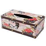 oriental spring vintage rettangolare impermeabile Tissue box cover Holder, Fit ufficio cucina auto bagno Living, Butterfly and Rose, 25 x 14 x9.5 cm