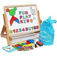 Toys of Wood Oxford Caballete infantil - Aprende a escribir mientras juegas con la pizarra magnética para niños con letras, formas magnéticas, números magnéticos y rollo de papel para pintar