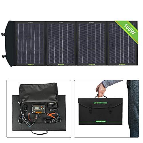ECO-WORTHY Chargeur de panneau solaire portable 100W avec contrôleur de charge avec double prise CC pour ordinateur portable, tablette, ipad, iphone, voiture 12v, bateau, camping-car, randonnée