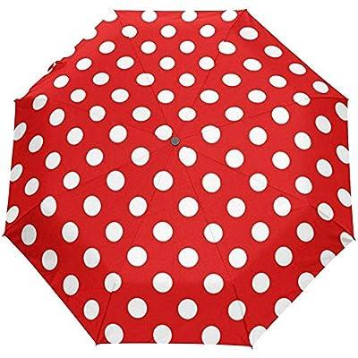 Vintage Lunares Rojos Auto Abrir Cerrar Sun Rain Paraguas