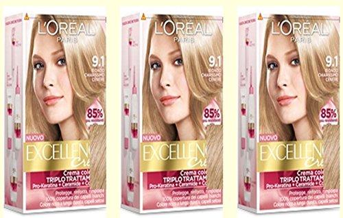3x-die-l-oreal-excellence-creme-91blond-klar-frbung-dye-haar