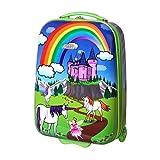 Karry Kinder Koffer Reisekoffer Trolley Hartschalen Handgepäck Mädchen LED Skater Rollen Einhorn Unicorn 819