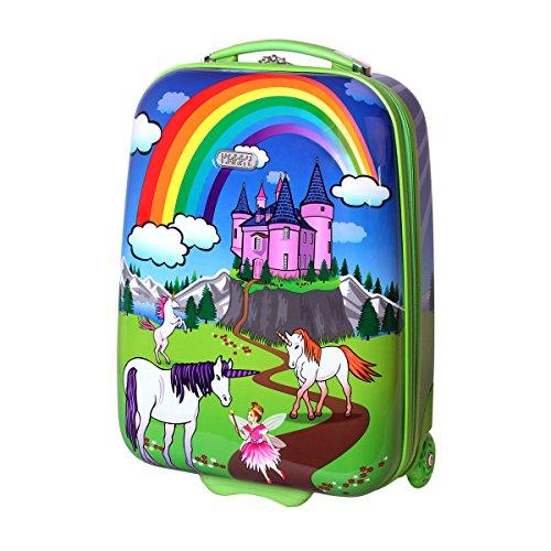 Karry-Kinder-Koffer-Reisekoffer-Trolley-Hartschalen-Handgepck-Mdchen-LED-Skater-Rollen-Einhorn-Unicorn-819