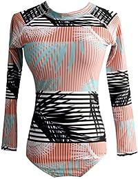 Moresave Traje de surf de manga larga para mujer, trajes de baño de una pieza Bañadores de playa acolchados