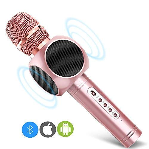 Micrófono Inalámbrico Portátil Bluetooth 3.0 2 Altavoces Incorporados para Karaoke Batería de 2600mAh 3.5mm AUX Compatible con PC/ iPad/ iPhone/ Smartphone, Color Rosado