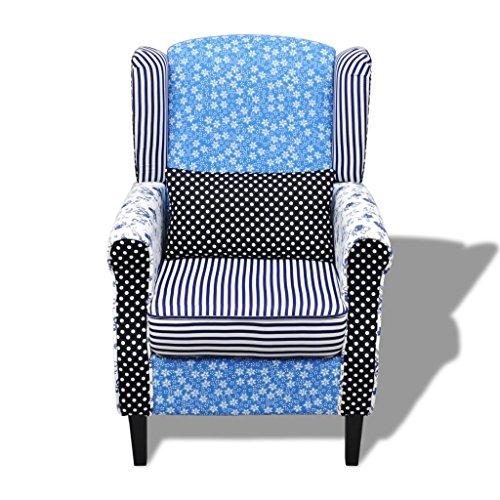 Relaxsessel vidaXL Blumen Blau & Weiß - 3